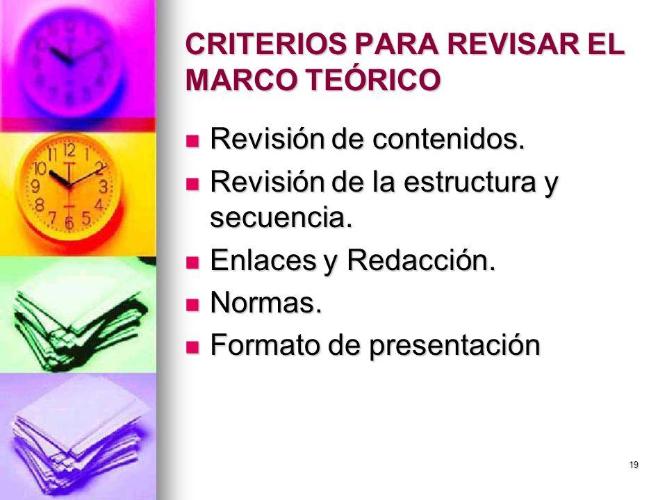 CRITERIOS PARA REVISAR EL MARCO TEÓRICO Revisión de contenidos. Revisión de contenidos. Revisión de la estructura y secuencia. Revisión de la estructu