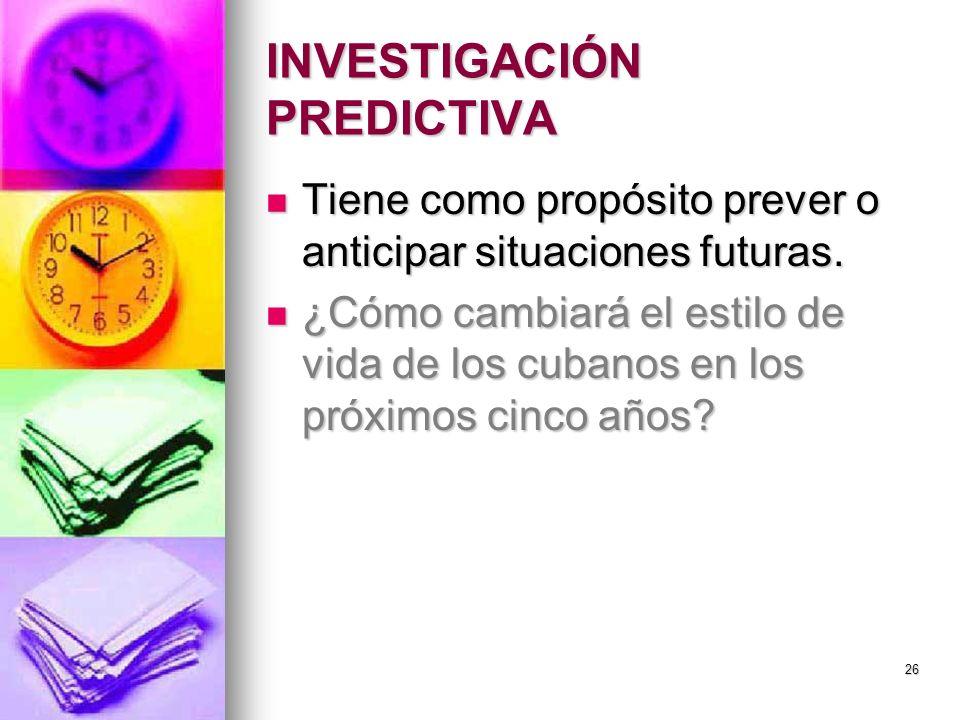 INVESTIGACIÓN PREDICTIVA Tiene como propósito prever o anticipar situaciones futuras. Tiene como propósito prever o anticipar situaciones futuras. ¿Có