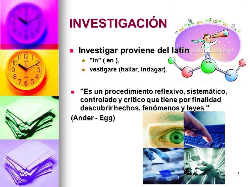 INVESTIGACIÓN Investigar proviene del latín Investigar proviene del latín