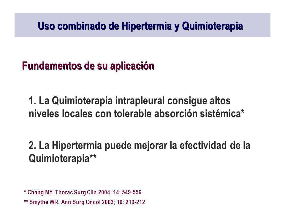 Uso combinado de Hipertermia y Quimioterapia Fundamentos de su aplicación 1. La Quimioterapia intrapleural consigue altos niveles locales con tolerabl