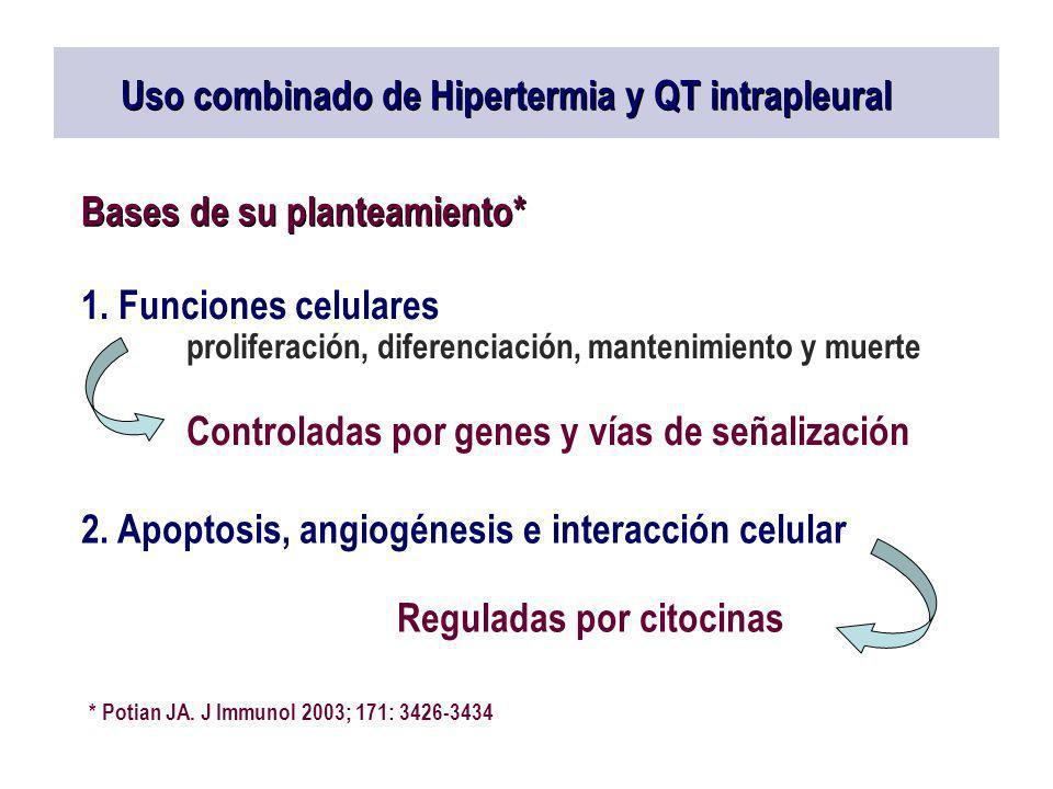 Uso combinado de Hipertermia y QT intrapleural Bases de su planteamiento* 1. Funciones celulares proliferación, diferenciación, mantenimiento y muerte