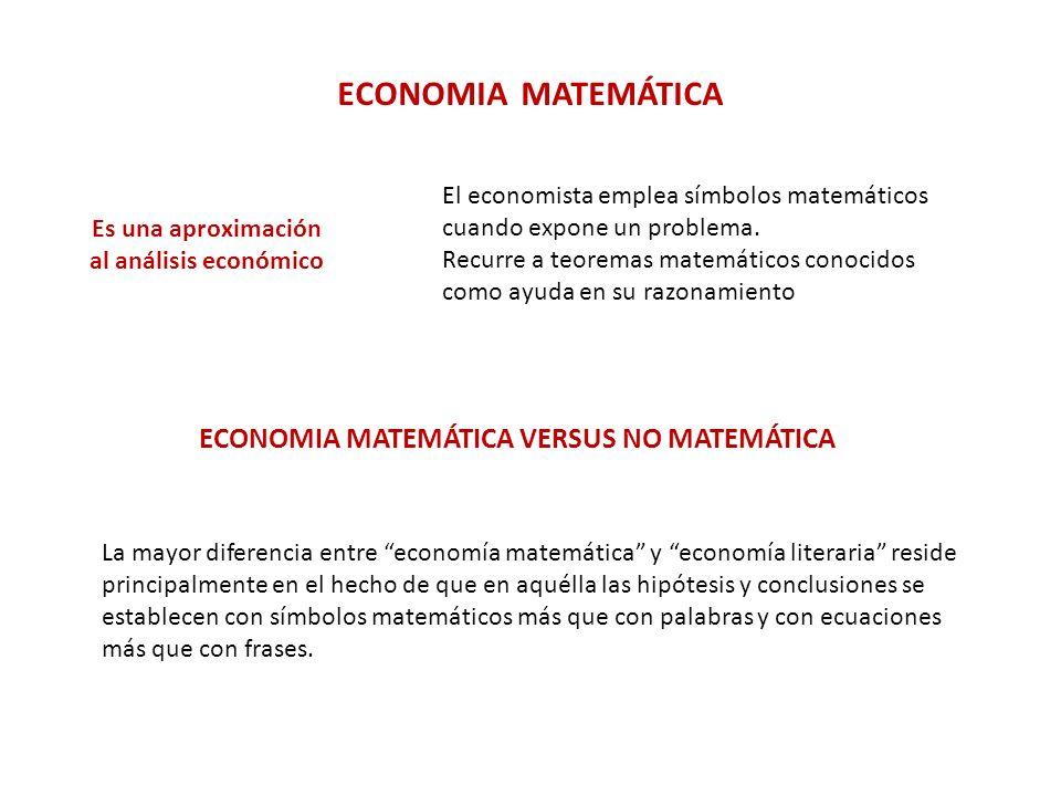 ECONOMIA MATEMÁTICA VERSUS ECONOMETRÍA La econometría se interesa principalmente por la medición de los datos económicos.