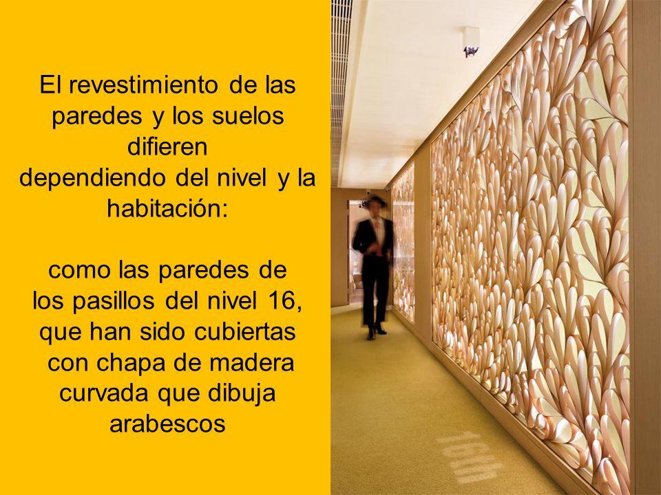 El revestimiento de las paredes y los suelos difieren dependiendo del nivel y la habitación: como las paredes de los pasillos del nivel 16, que han si