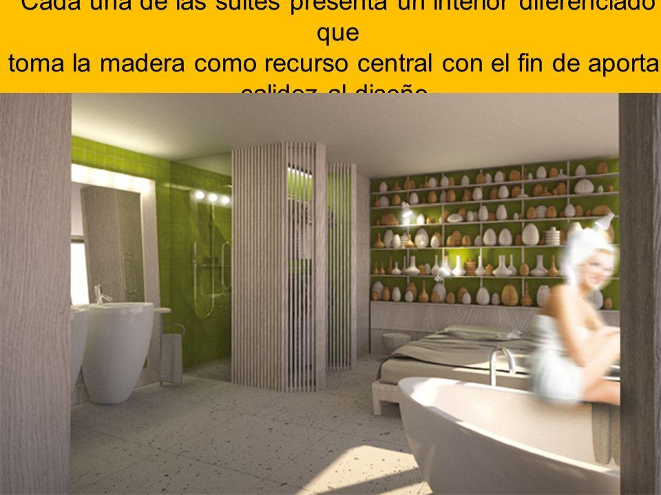 Cada una de las suites presenta un interior diferenciado que toma la madera como recurso central con el fin de aportar calidez al diseño.