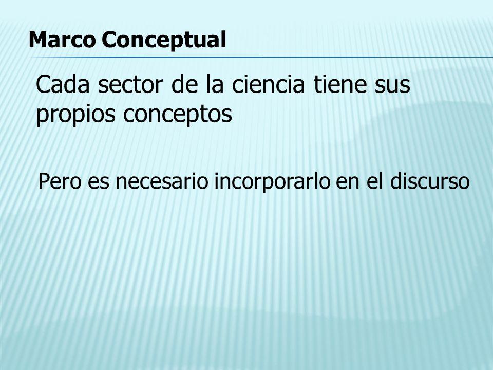 Marco Conceptual Cada sector de la ciencia tiene sus propios conceptos Pero es necesario incorporarlo en el discurso