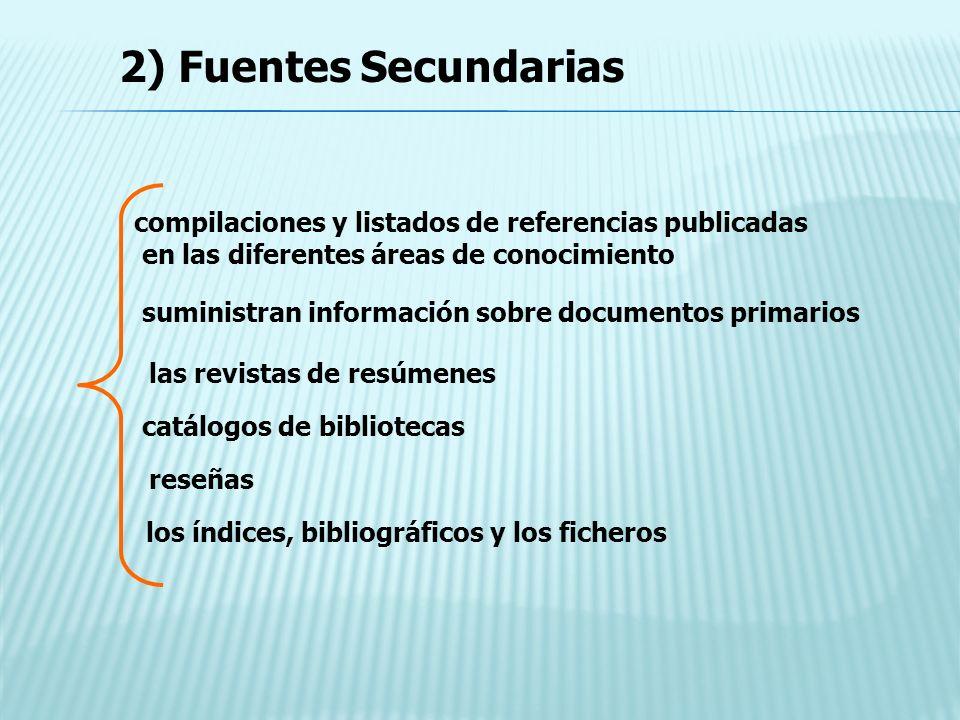 compilaciones y listados de referencias publicadas en las diferentes áreas de conocimiento suministran información sobre documentos primarios las revi