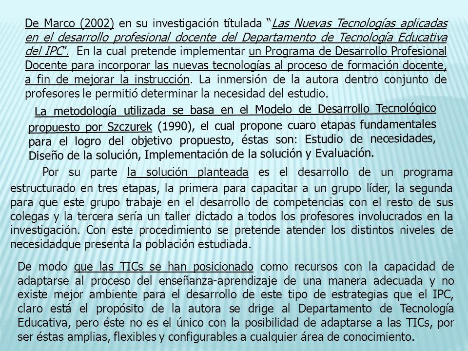 De Marco (2002) en su investigación títulada Las Nuevas Tecnologías aplicadas en el desarrollo profesional docente del Departamento de Tecnología Educ