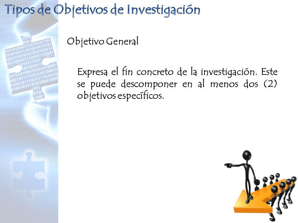 Objetivo General Expresa el fin concreto de la investigación. Este se puede descomponer en al menos dos (2) objetivos específicos.