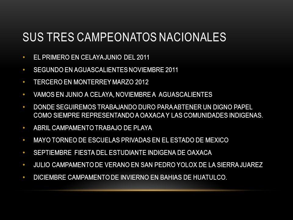 SUS TRES CAMPEONATOS NACIONALES EL PRIMERO EN CELAYA JUNIO DEL 2011 SEGUNDO EN AGUASCALIENTES NOVIEMBRE 2011 TERCERO EN MONTERREY MARZO 2012 VAMOS EN JUNIO A CELAYA, NOVIEMBRE A AGUASCALIENTES DONDE SEGUIREMOS TRABAJANDO DURO PARA ABTENER UN DIGNO PAPEL COMO SIEMPRE REPRESENTANDO A OAXACA Y LAS COMUNIDADES INDIGENAS.