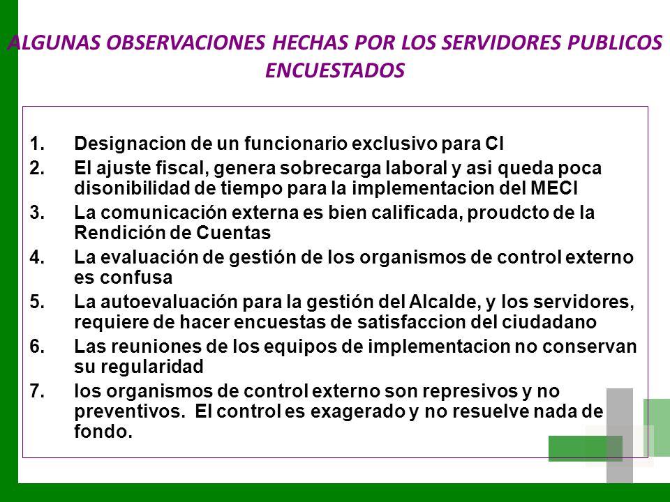 ALGUNAS OBSERVACIONES HECHAS POR LOS SERVIDORES PUBLICOS ENCUESTADOS 1.Designacion de un funcionario exclusivo para CI 2.El ajuste fiscal, genera sobr