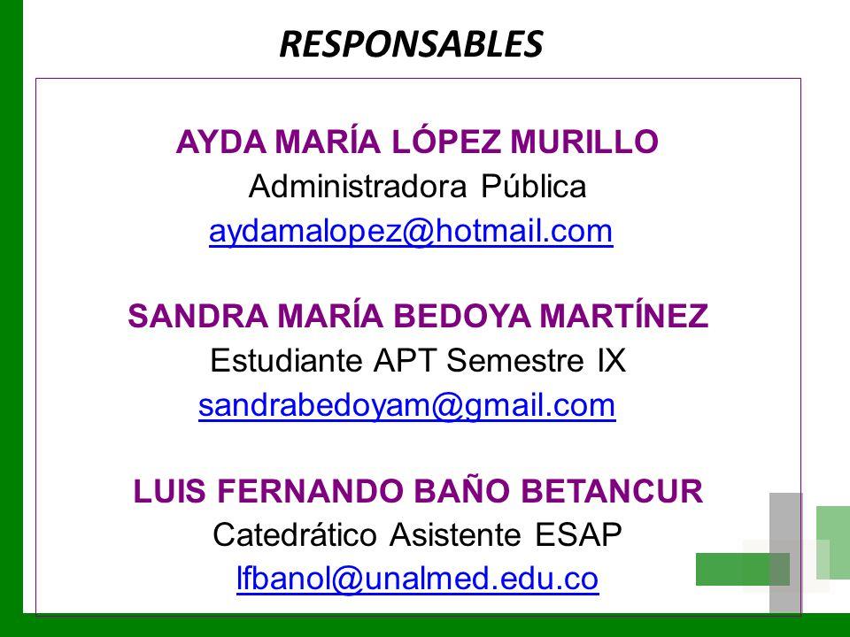 RESPONSABLES AYDA MARÍA LÓPEZ MURILLO Administradora Pública aydamalopez@hotmail.com SANDRA MARÍA BEDOYA MARTÍNEZ Estudiante APT Semestre IX sandrabed