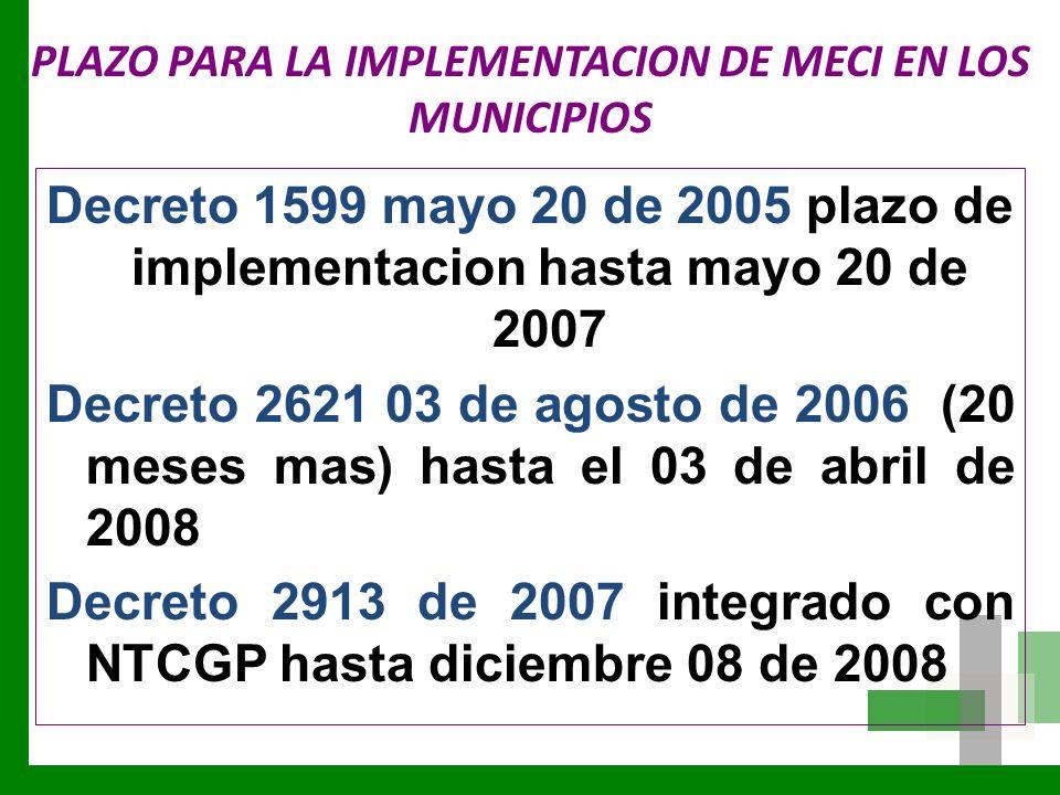 PLAZO PARA LA IMPLEMENTACION DE MECI EN LOS MUNICIPIOS Decreto 1599 mayo 20 de 2005 plazo de implementacion hasta mayo 20 de 2007 Decreto 2621 03 de a
