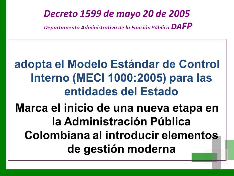 Decreto 1599 de mayo 20 de 2005 Departamento Administrativo de la Función Pública DA FP adopta el Modelo Estándar de Control Interno (MECI 1000:2005)