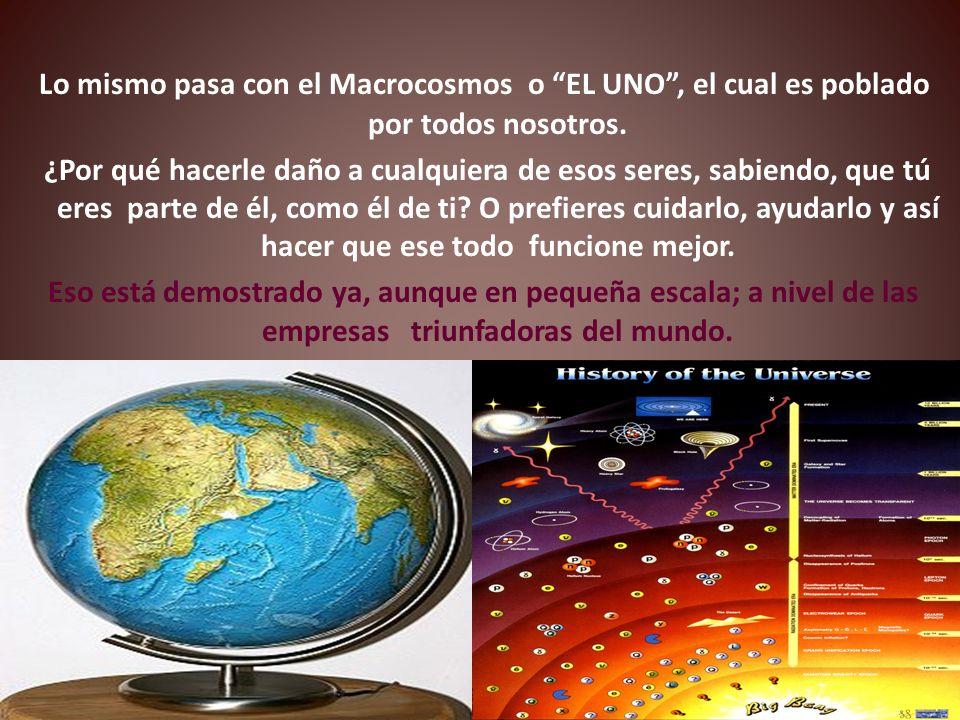Lo mismo pasa con el Macrocosmos o EL UNO, el cual es poblado por todos nosotros.
