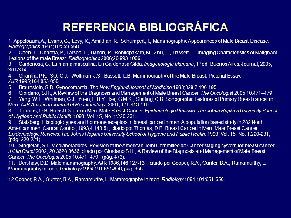 REFERENCIA BIBLIOGRÁFICA 1. Appelbaum, A., Evans, G., Levy, K., Amikhan, R., Schumpert, T., Mammographic Appearances of Male Breast Disease. Radiograp