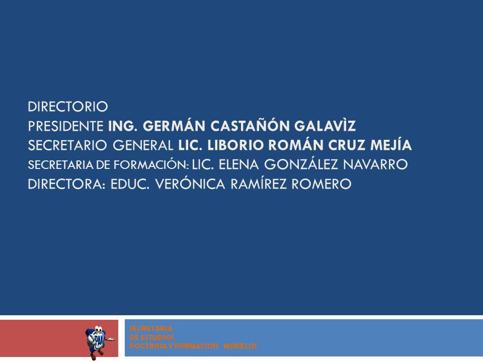 DIRECTORIO PRESIDENTE ING. GERMÁN CASTAÑÓN GALAVÌZ SECRETARIO GENERAL LIC. LIBORIO ROMÁN CRUZ MEJÍA SECRETARIA DE FORMACIÓN: LIC. ELENA GONZÁLEZ NAVAR