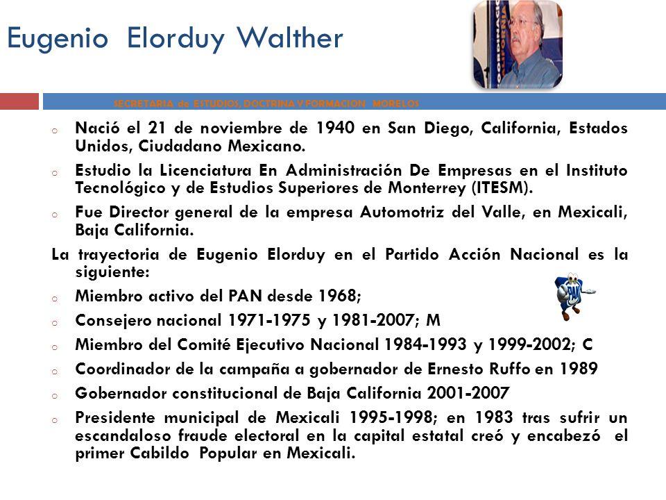 Eugenio Elorduy Walther SECRETARIA de ESTUDIOS, DOCTRINA Y FORMACION MORELOS o Nació el 21 de noviembre de 1940 en San Diego, California, Estados Unid