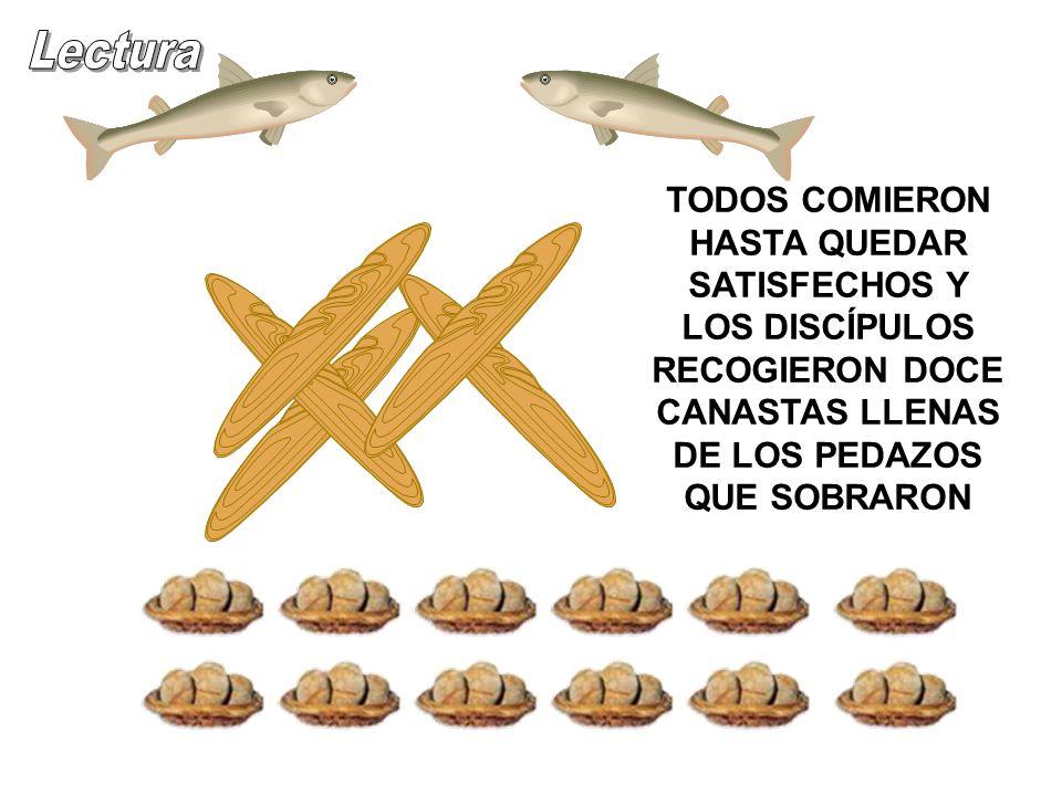 TODOS COMIERON HASTA QUEDAR SATISFECHOS Y LOS DISCÍPULOS RECOGIERON DOCE CANASTAS LLENAS DE LOS PEDAZOS QUE SOBRARON.