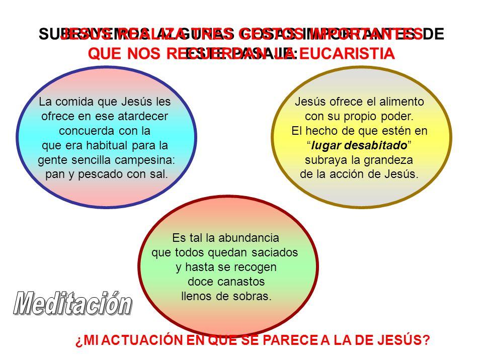 SUBRAYEMOS ALGUNAS COSAS IMPORTANTES DE ESTE PASAJE: La comida que Jesús les ofrece en ese atardecer concuerda con la que era habitual para la gente s