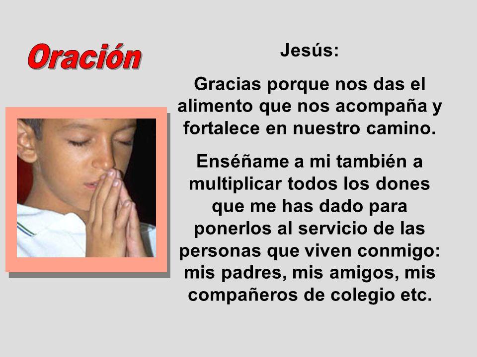 Jesús: Gracias porque nos das el alimento que nos acompaña y fortalece en nuestro camino. Enséñame a mi también a multiplicar todos los dones que me h