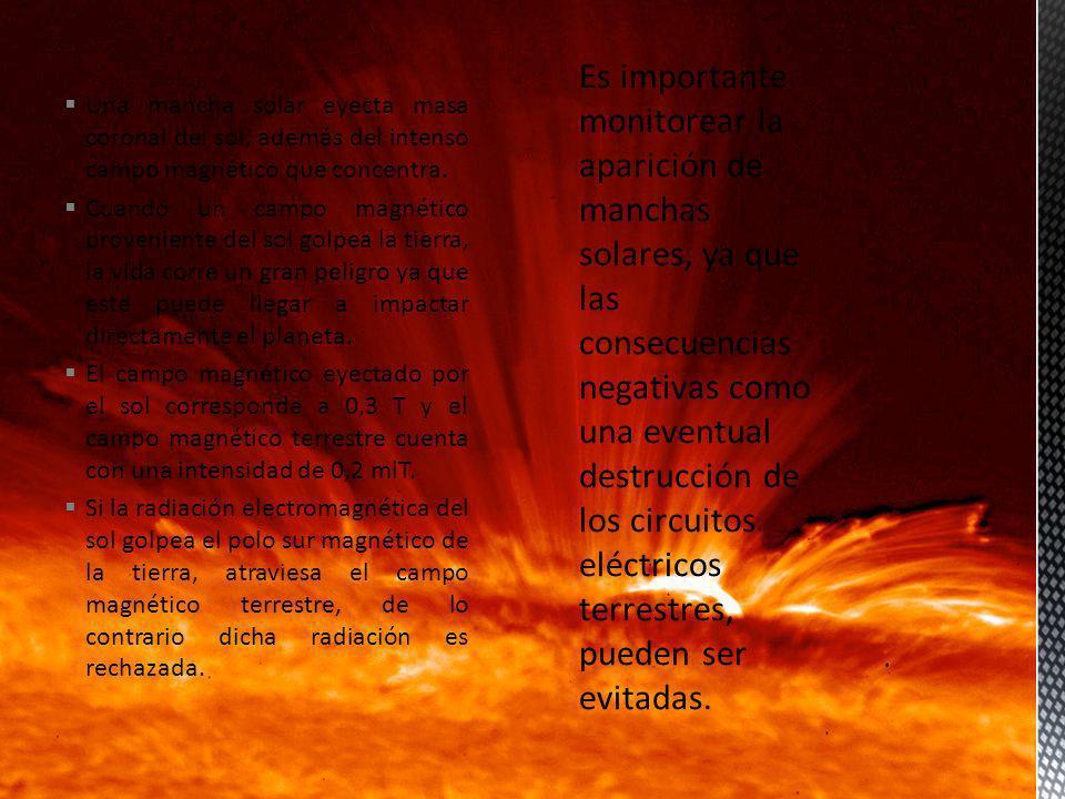 Una mancha solar eyecta masa coronal del sol, además del intenso campo magnético que concentra.