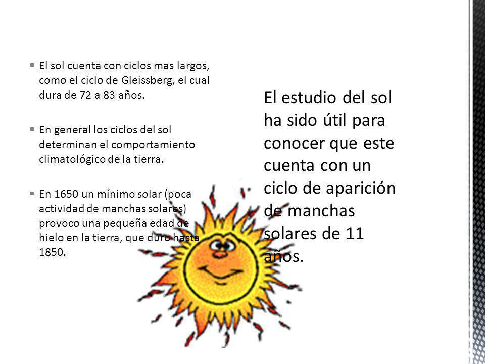 El sol cuenta con ciclos mas largos, como el ciclo de Gleissberg, el cual dura de 72 a 83 años.