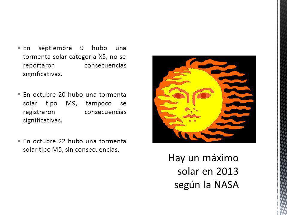 En septiembre 9 hubo una tormenta solar categoría X5, no se reportaron consecuencias significativas.