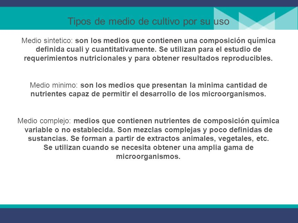 Tipos de medios de cultivo por su consistencia Los medios de cultivo pueden ser: 1. Líquidos 2. Sólidos o semisólidos Los medios sólidos o semisólidos