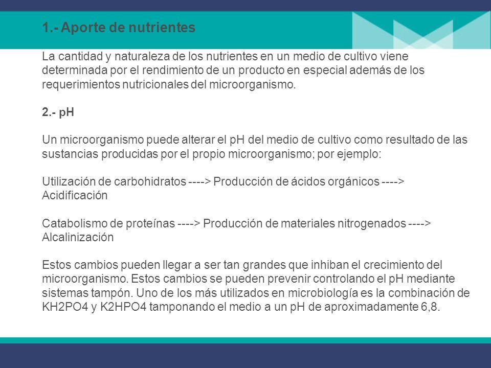 Cuando se desean cultivar bacterias no solo es necesario tomar en cuenta los nutrientes, sino también las condiciones físicas como son pH, condiciones