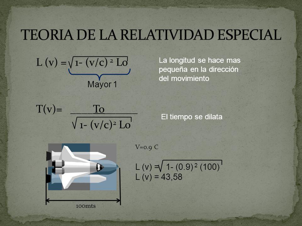 L (v) = 1- (v/c) 2 Lo T(v)= ____To______ 1- (v/c) 2 Lo La longitud se hace mas pequeña en la dirección del movimiento El tiempo se dilata Mayor 1 100m
