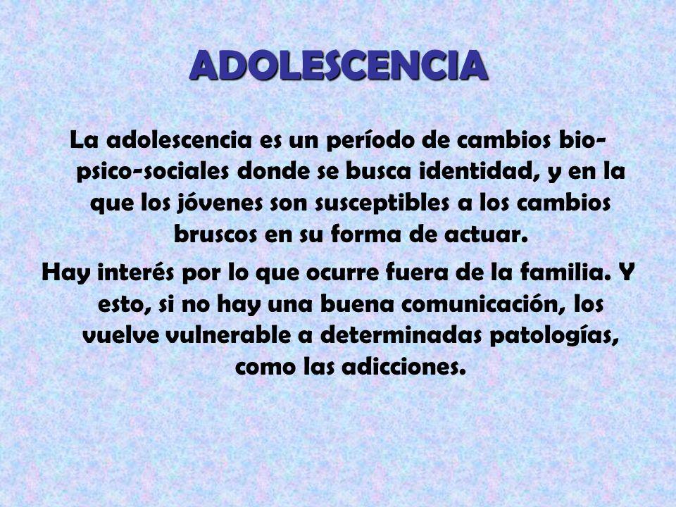 ADOLESCENCIA La adolescencia es un período de cambios bio- psico-sociales donde se busca identidad, y en la que los jóvenes son susceptibles a los cam