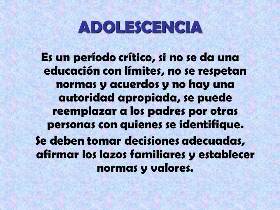 ADOLESCENCIA Es un período crítico, si no se da una educación con límites, no se respetan normas y acuerdos y no hay una autoridad apropiada, se puede
