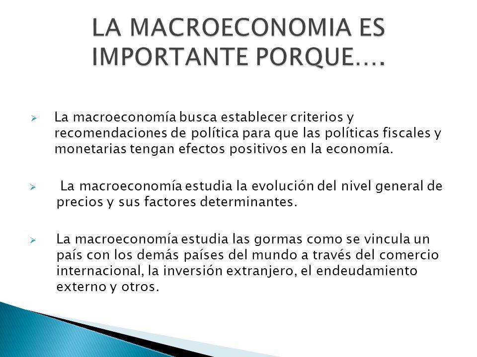 La macroeconomía busca establecer criterios y recomendaciones de política para que las políticas fiscales y monetarias tengan efectos positivos en la