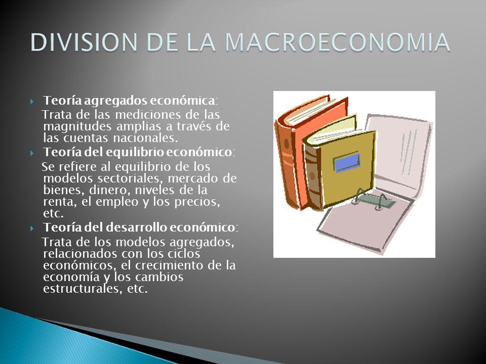 Teoría agregados económica: Trata de las mediciones de las magnitudes amplias a través de las cuentas nacionales. Teoría del equilibrio económico: Se