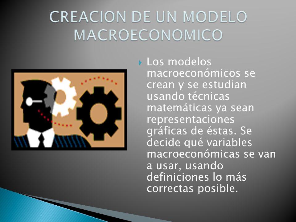 Los modelos macroeconómicos se crean y se estudian usando técnicas matemáticas ya sean representaciones gráficas de éstas. Se decide qué variables mac
