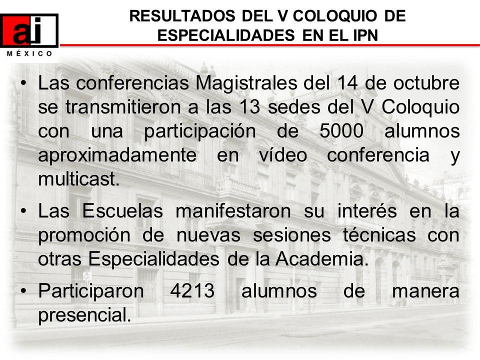 Las conferencias Magistrales del 14 de octubre se transmitieron a las 13 sedes del V Coloquio con una participación de 5000 alumnos aproximadamente en