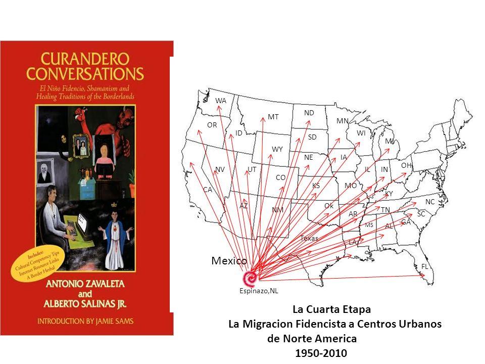 Mexico Texas LA AR Ok NM AZ CA NVUT CO KSMO MS AL GA FL SC NC TN KY NEIA IL WY Espinazo,NL WI MI SD ND MN MT ID OR WA IN OH La Cuarta Etapa La Migraci