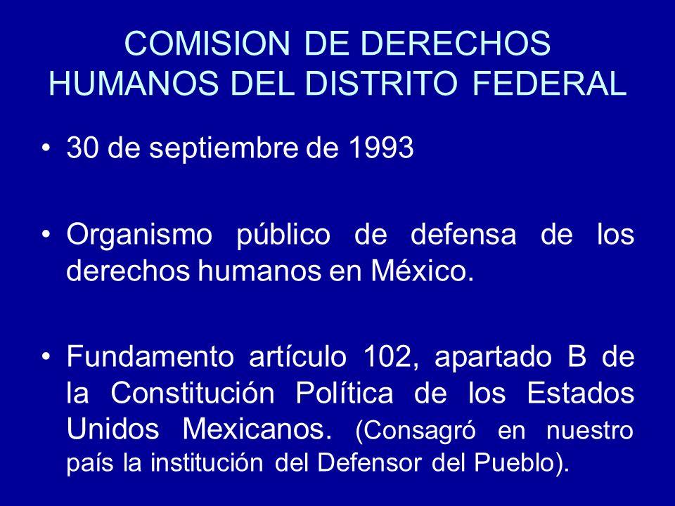 COMISION DE DERECHOS HUMANOS DEL DISTRITO FEDERAL 30 de septiembre de 1993 Organismo público de defensa de los derechos humanos en México. Fundamento