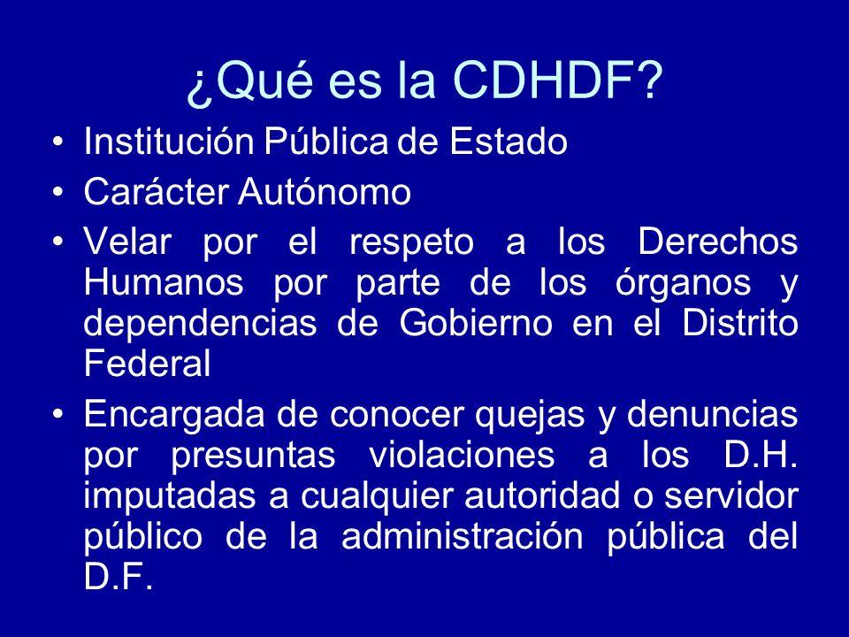 ¿Qué es la CDHDF? Institución Pública de Estado Carácter Autónomo Velar por el respeto a los Derechos Humanos por parte de los órganos y dependencias