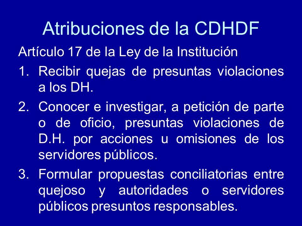 Atribuciones de la CDHDF Artículo 17 de la Ley de la Institución 1.Recibir quejas de presuntas violaciones a los DH. 2.Conocer e investigar, a petició
