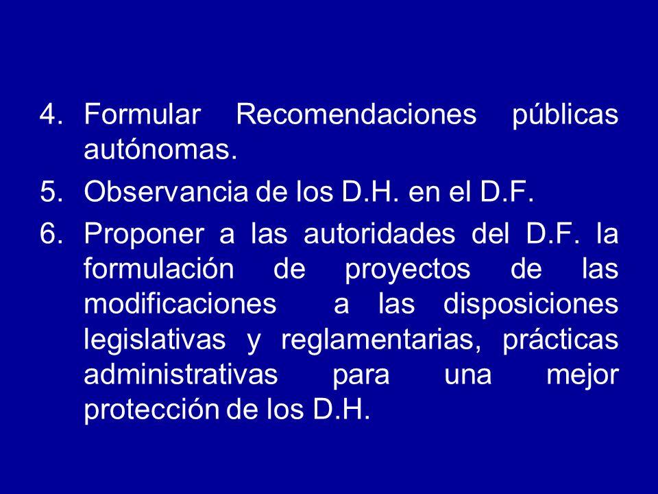 4.Formular Recomendaciones públicas autónomas. 5.Observancia de los D.H. en el D.F. 6.Proponer a las autoridades del D.F. la formulación de proyectos
