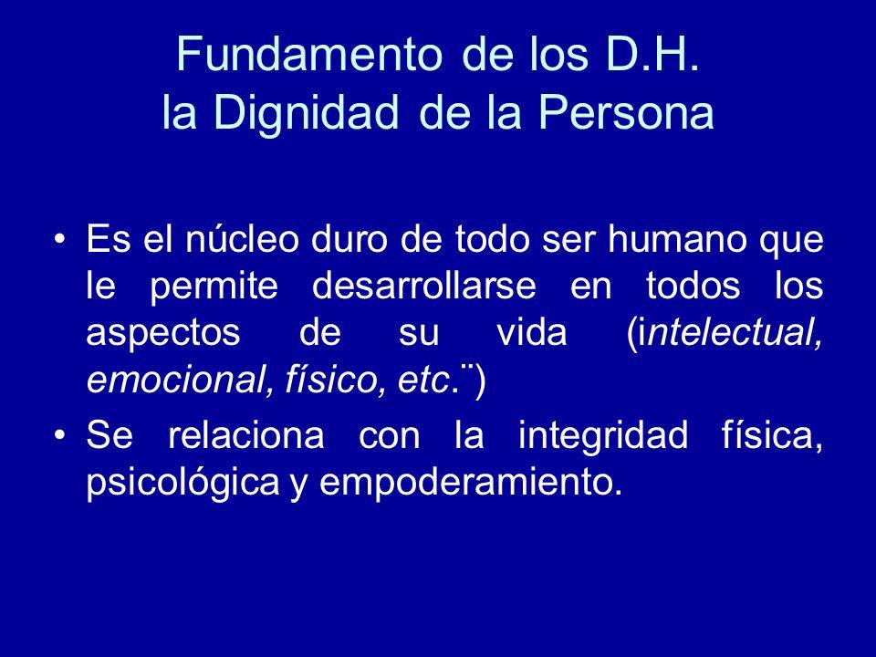Fundamento de los D.H. la Dignidad de la Persona Es el núcleo duro de todo ser humano que le permite desarrollarse en todos los aspectos de su vida (i