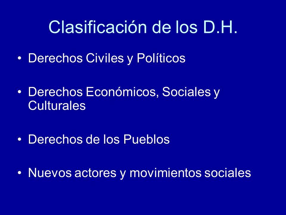 Clasificación de los D.H. Derechos Civiles y Políticos Derechos Económicos, Sociales y Culturales Derechos de los Pueblos Nuevos actores y movimientos