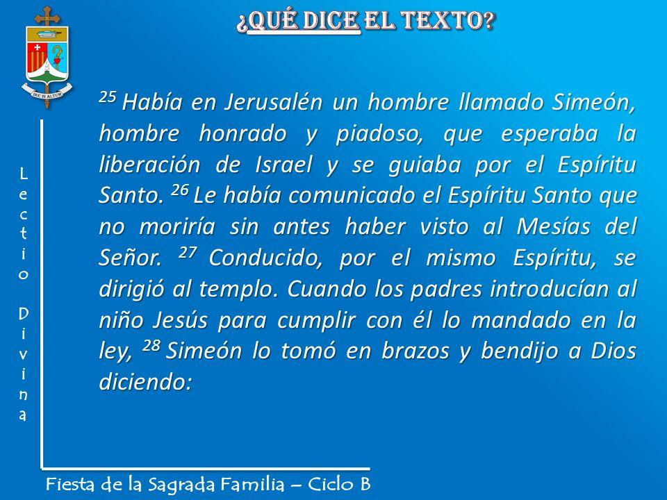 25 Había en Jerusalén un hombre llamado Simeón, hombre honrado y piadoso, que esperaba la liberación de Israel y se guiaba por el Espíritu Santo. 26 L