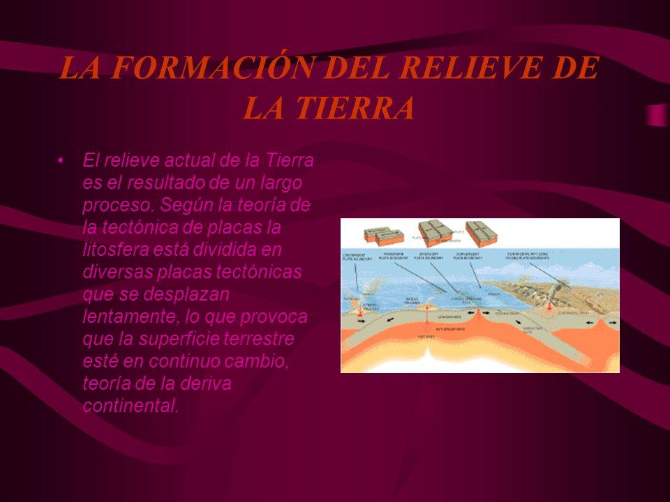 LA FORMACIÓN DEL RELIEVE DE LA TIERRA El relieve actual de la Tierra es el resultado de un largo proceso. Según la teoría de la tectónica de placas la