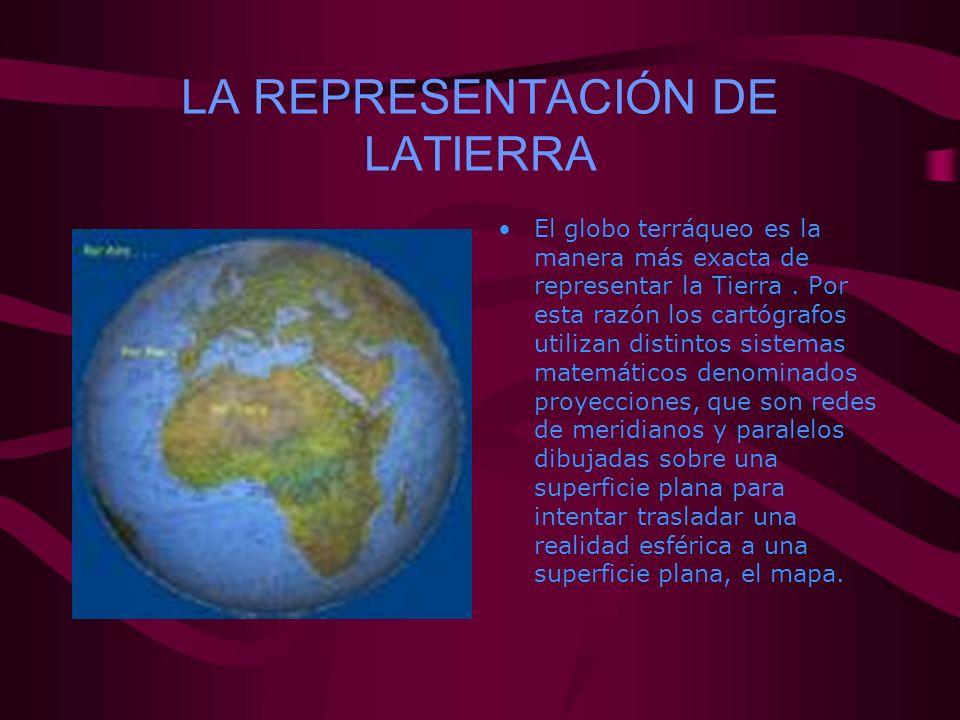 LA REPRESENTACIÓN DE LATIERRA El globo terráqueo es la manera más exacta de representar la Tierra. Por esta razón los cartógrafos utilizan distintos s