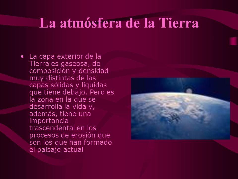 La atmósfera de la Tierra La capa exterior de la Tierra es gaseosa, de composición y densidad muy distintas de las capas sólidas y líquidas que tiene