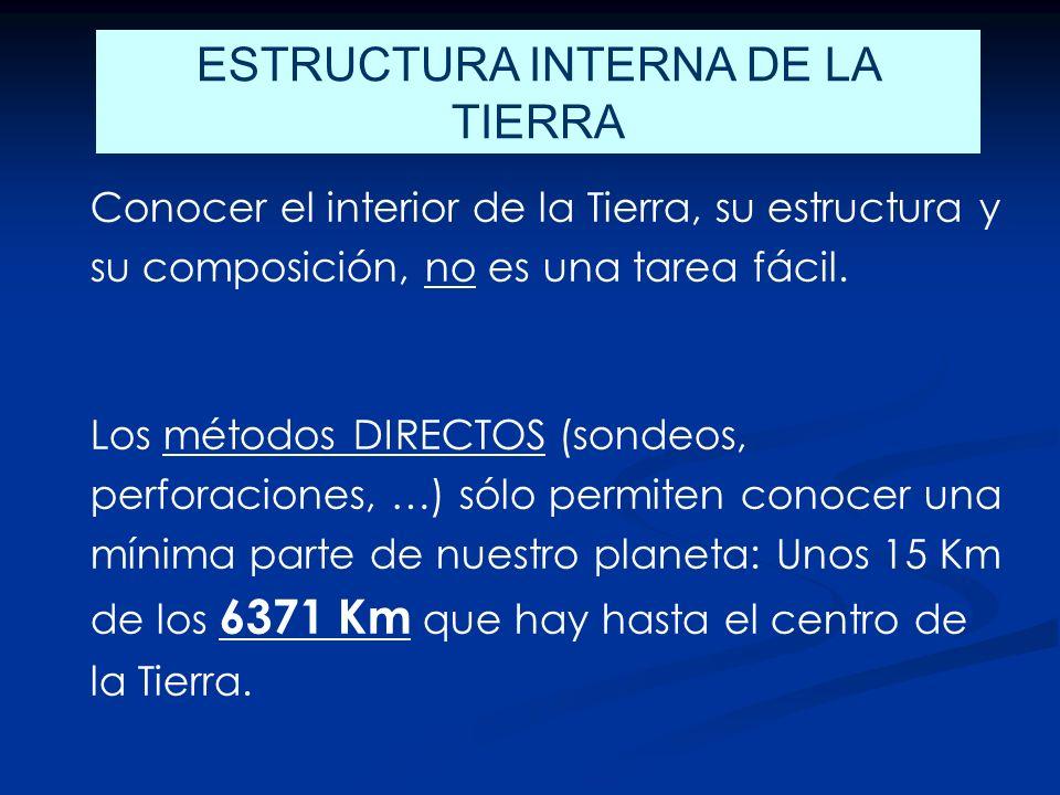 ESTRUCTURA INTERNA DE LA TIERRA Conocer el interior de la Tierra, su estructura y su composición, no es una tarea fácil.