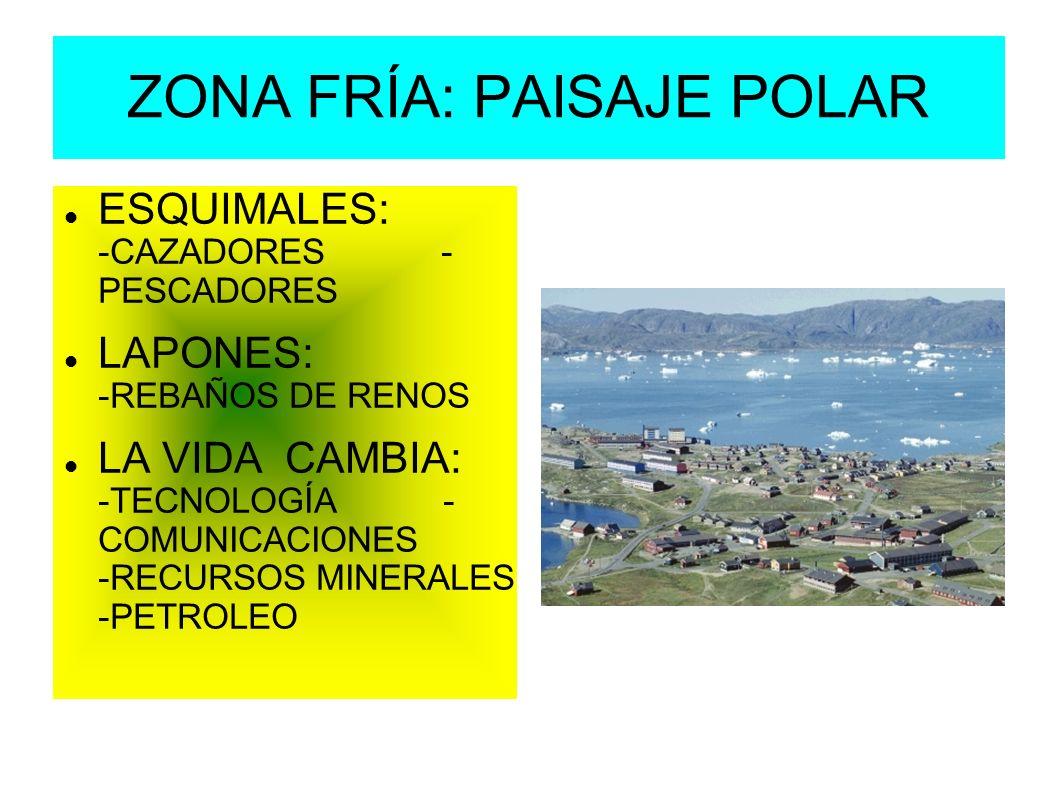 ZONA FRÍA: PAISAJE POLAR ESQUIMALES: -CAZADORES - PESCADORES LAPONES: -REBAÑOS DE RENOS LA VIDA CAMBIA: -TECNOLOGÍA - COMUNICACIONES -RECURSOS MINERAL
