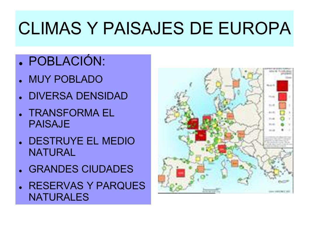 CLIMAS Y PAISAJES DE EUROPA POBLACIÓN: MUY POBLADO DIVERSA DENSIDAD TRANSFORMA EL PAISAJE DESTRUYE EL MEDIO NATURAL GRANDES CIUDADES RESERVAS Y PARQUE